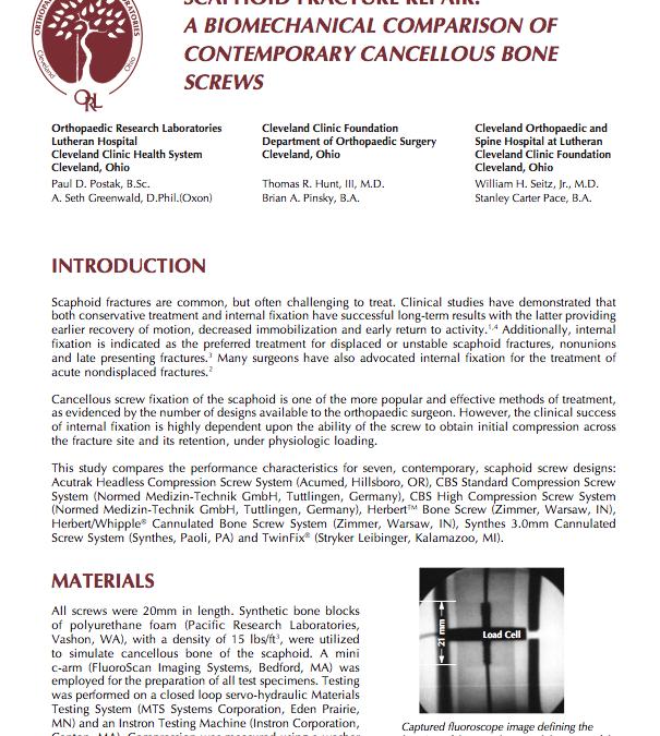 Scaphoid Fracture Repair: A Biomechanical Comparison of Contemporary Cancellous Bone Screws