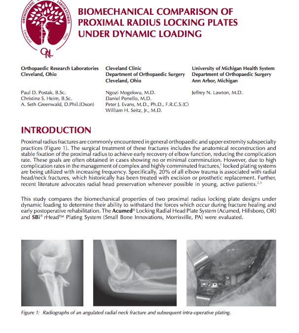 Biomechanical Comparison of Proximal Radius Locking Plates Under Dynamic Loading