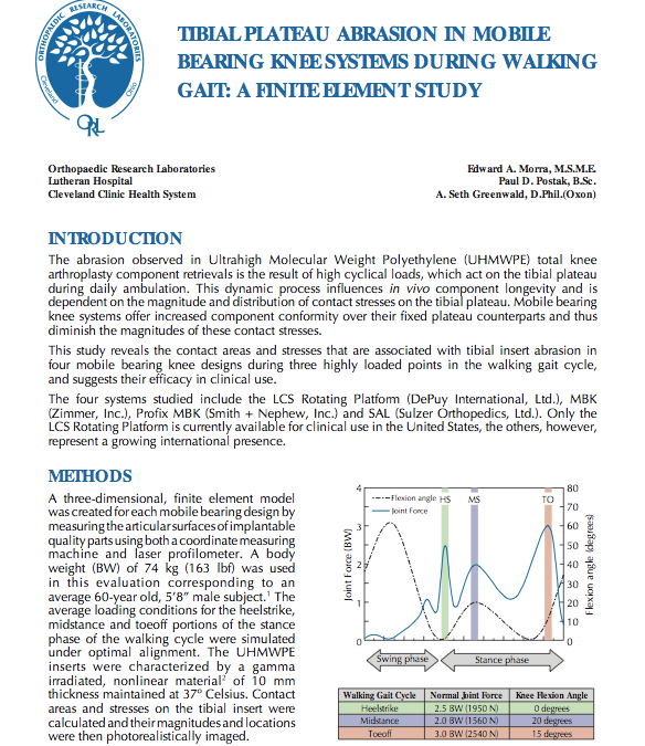 Tibial Plateau Abrasion in Mobile Bearing Knee Systems During Walking Gait: A Finite Element Study