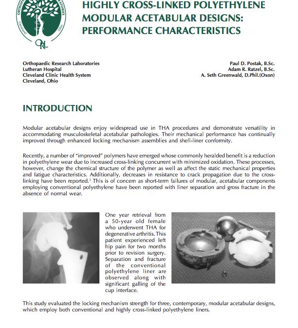 Highly Cross-Linked Polyethylene Modular Acetabular Designs: Performance Characteristics