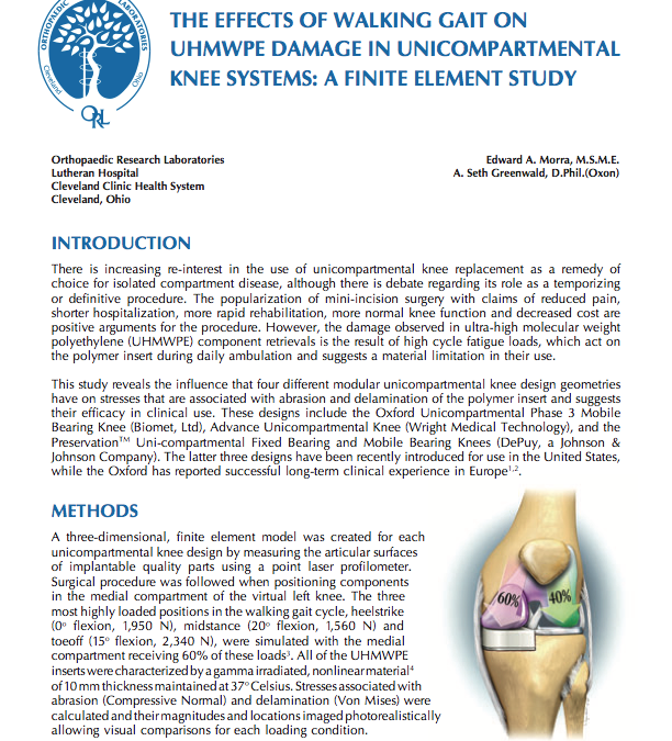 The Effects of Walking Gait on UHMWPE Damage in Unicompartmental Knee Systems: A Finite Element Study