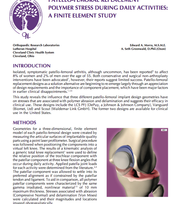 Patello-Femoral Replacement Polymer Stress During Daily Activities: A Finite Element Study