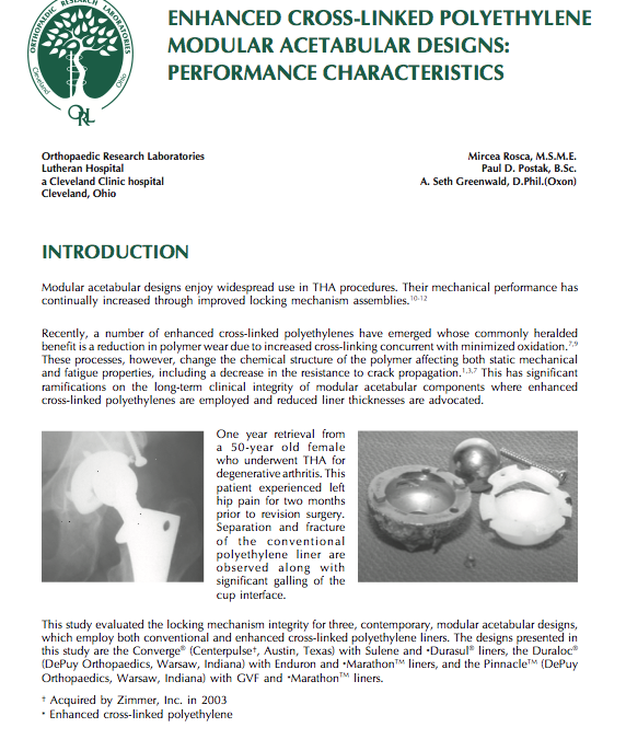 Enhanced Cross-Linked Polyethylene Modular Acetabular Designs: Performance Characteristics