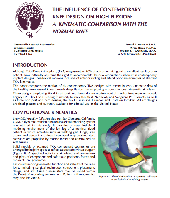 The Influence of Contemporary Knee Design on High Flexion: A Kinematic Comparison with the Normal Knee