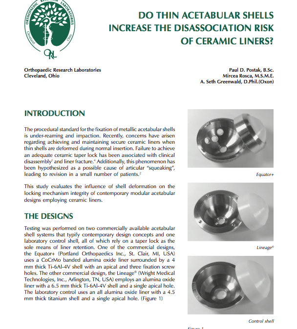 Do Thin Acetabular Shells Increase the Disassociation Risk of Ceramic Liners?