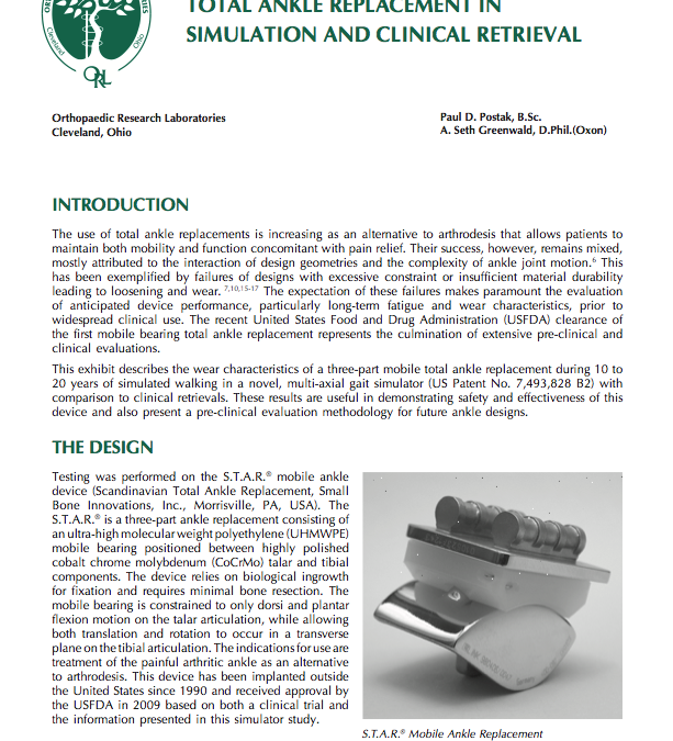 Evaluation of a Mobile Bearing Total Ankle Replacement in Simulation and Clinical Retrieval