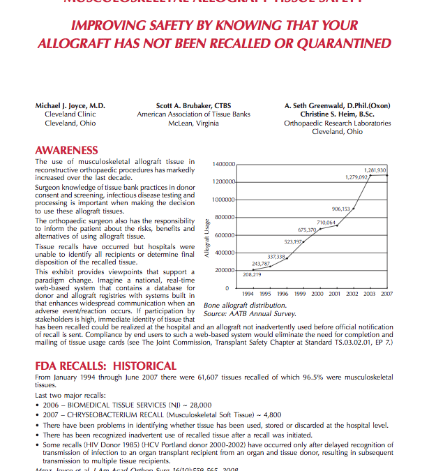 Musculoskeletal Allograft Tissue Safety
