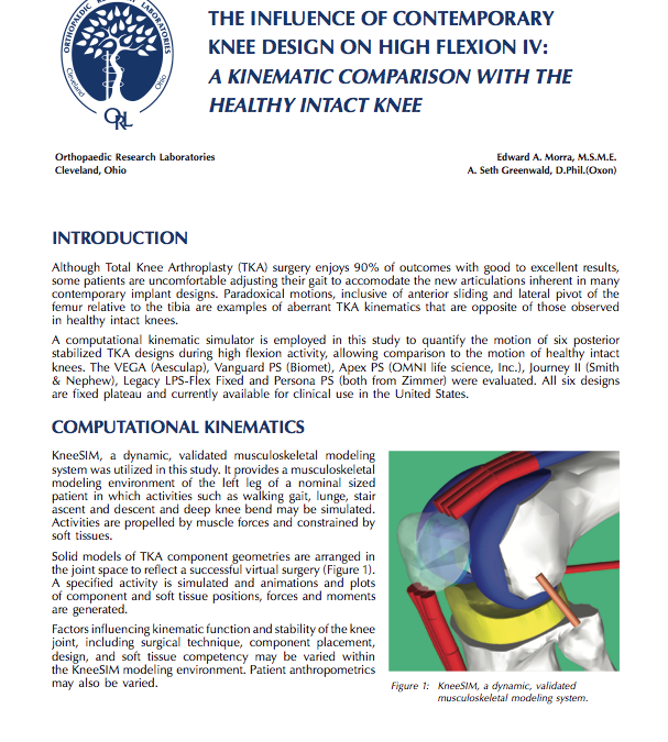 The Influence of Contemporary Knee Design on High Flexion IV: A Kinematic Comparison with the Healthy Intact Knee