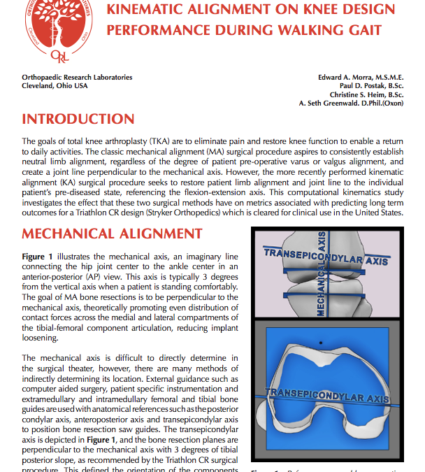 The Influence of Mechanical Versus Kinematic Alignment on Knee Design Performance During Walking Gait